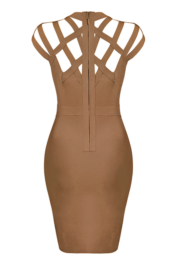 Plunge Round Neck Strappy Mini Dress