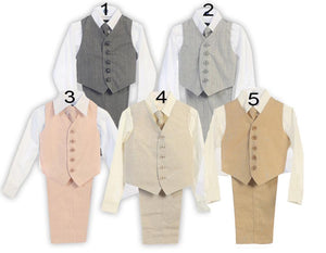 Little to Big Boy Natural Linen 4Piece Vest Set, Gray, Blush Pink, Beige Ivory, Khaki, Baptism Christening Communion, Ring Bearer, Size 1-16