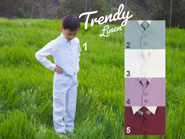 Little to Big Boy Natural Linen 4 Piece Vest Set, Blue Mint White Lavender Burgundy, Baptism Christening Communion, Ring Bearer, Size 1-16