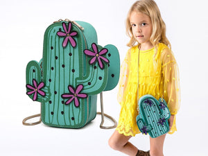 Girl Cute Cactus Green Crossbody Bag with Gold Chain, Party, Weekends, Vacation
