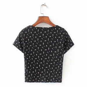 Ribbed Floral Short Sleeve Button Up Crop Top Tee Shirt