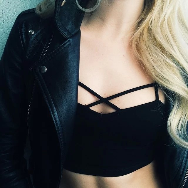 Cage Front Cut Out Strappy Bralette Cami Crop Top Criss Cross