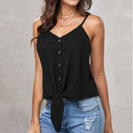 Swing Spaghetti Strap Tie Knot Button Up Tank Top