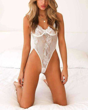 Floral Striped Mesh High Rise Lace bodysuit White & Black
