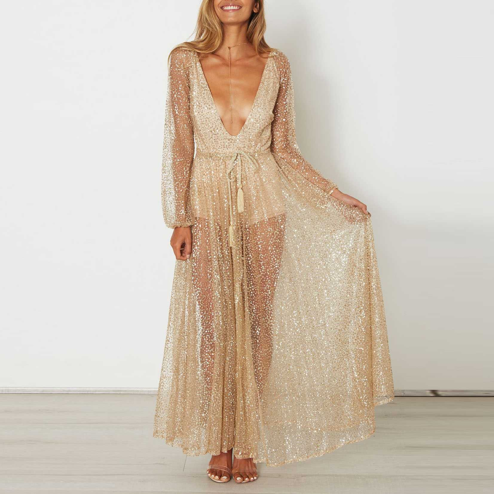 Gitter Sequins Deep Plunge Tie Waist Long Sleeve Sheer Mesh Dress