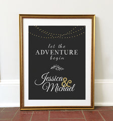 Printable Chalkboard Wedding Sign - Let the Adventure Begin