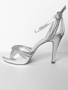 Silver high heels shoes