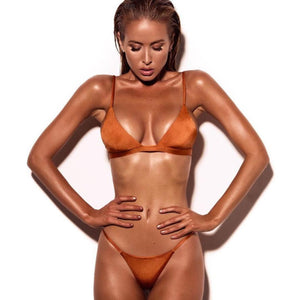 Orange Low-waist Bikini Set - LABELSHOES