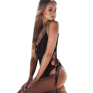 Black Lace-up Swimsuit - LABELSHOES