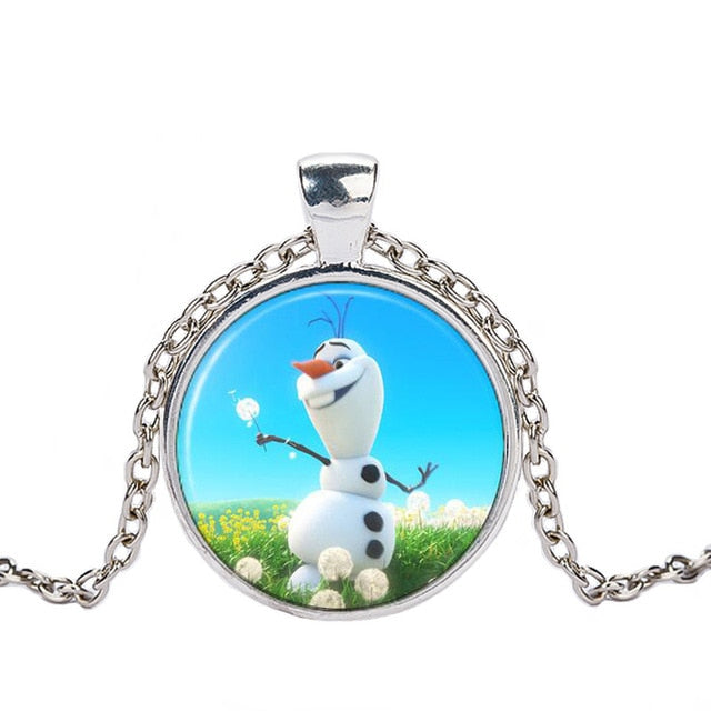 Necklace Cartoon Jewelry Girl Round Glasses Necklace Women Girls Gift For Kids silver necklace