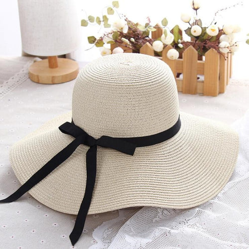 summer straw hat women big wide brim beach hat sun hat foldable sun block UV protection
