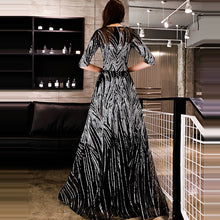Load image into Gallery viewer, Sliver Black Sequined O-neck Half Sleeve A-line Floor-length Dinner Gowns