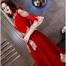 Load image into Gallery viewer, Vintage Red Gold Embroidery Beading Flare Sleeve A-line Dinner