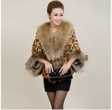 Load image into Gallery viewer, Fashion Sexy Winter Women Faux Fur Leopard Coat With Raccoon Dog Collar Faux Fur Poncho gilet chalecos de pelo mujer S-3XL