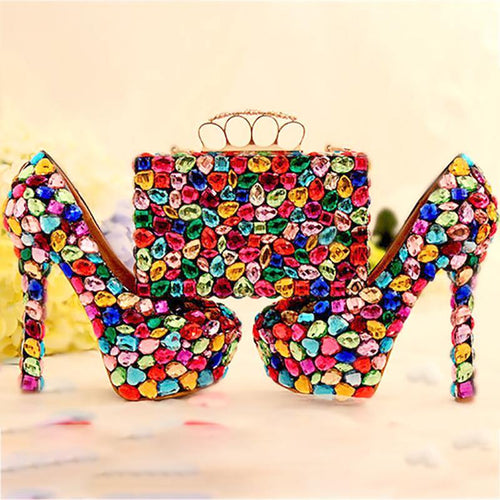 Wedding Women Shoes and Bags to Matching Crystal Purse Wedding Colorful Platform Bridal Shoes High Heels Genuine Leather Big Size