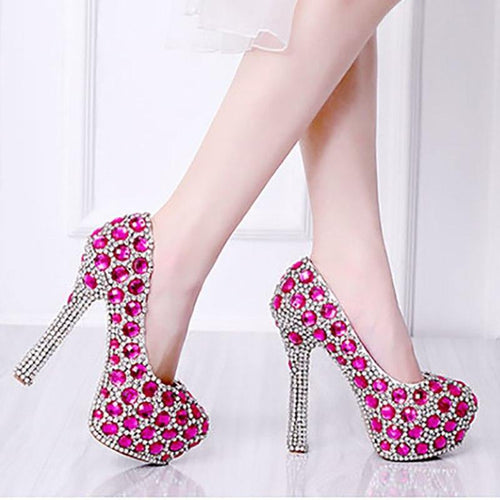 Wedding Shoes Green Blue Pink Woman Crystal High Heels Bride Ladies Shoes Party Rhinestone Round Toe Slip On Shoe