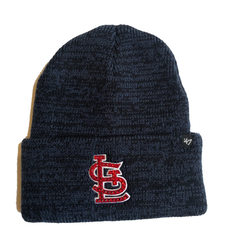 Blinged St. Louis Cardinals Beanie Knit Hat Navy Blue