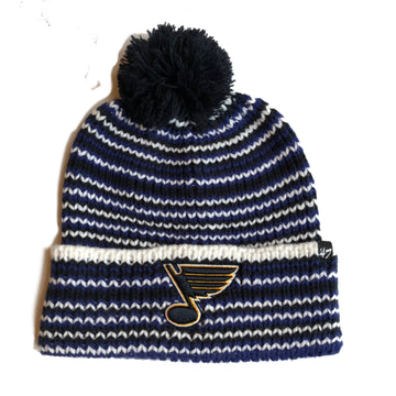 st. louis blues black navy white beanie knit hat pom