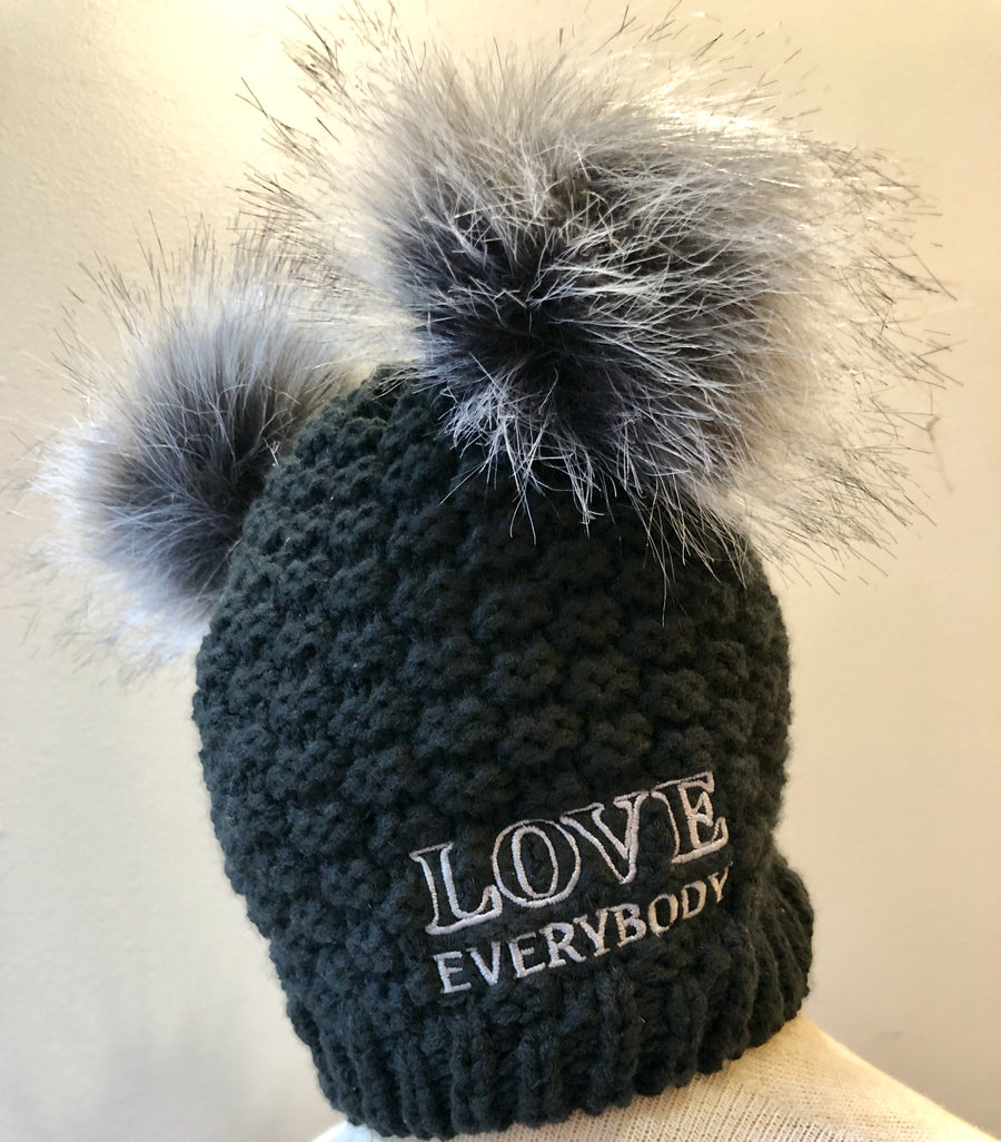 LOVE Everybody double pom beanie in Pitch detail