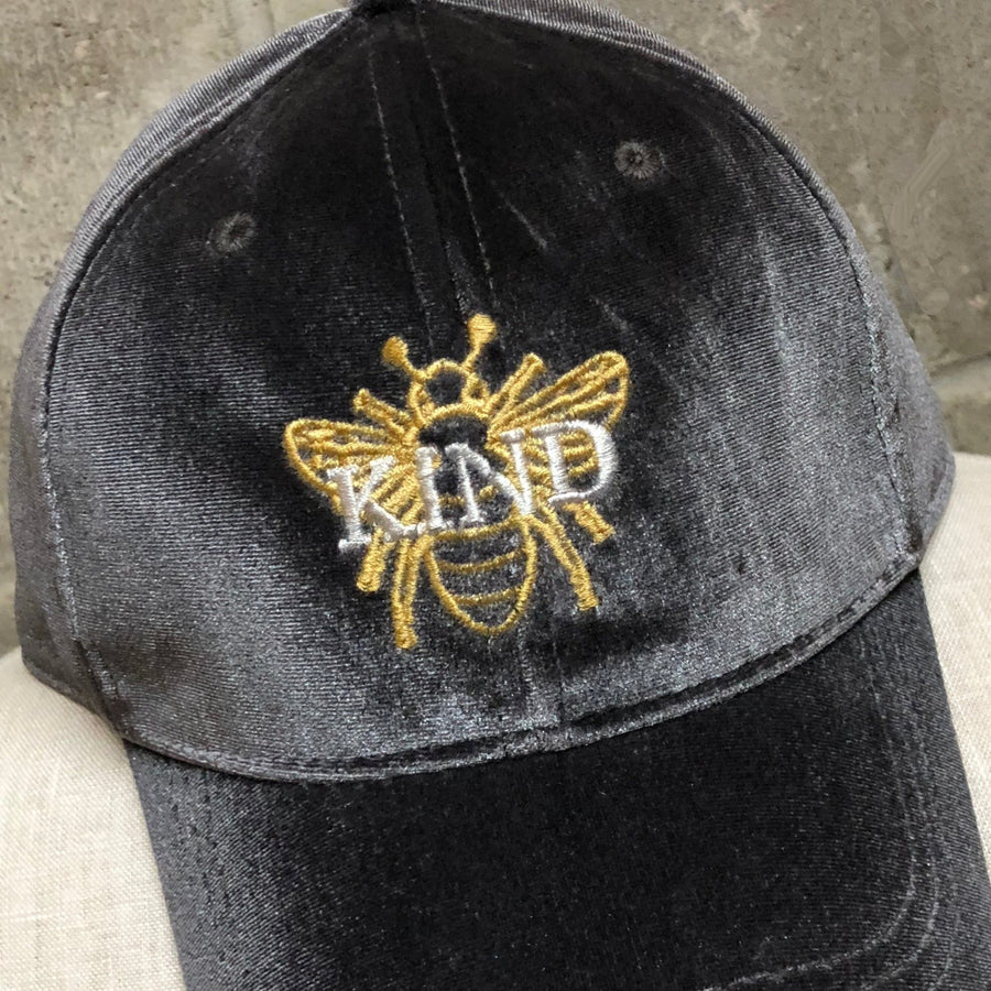 Bee Kind Velvet Hat in Weather Grey with Gold Bee and Silver embroidery