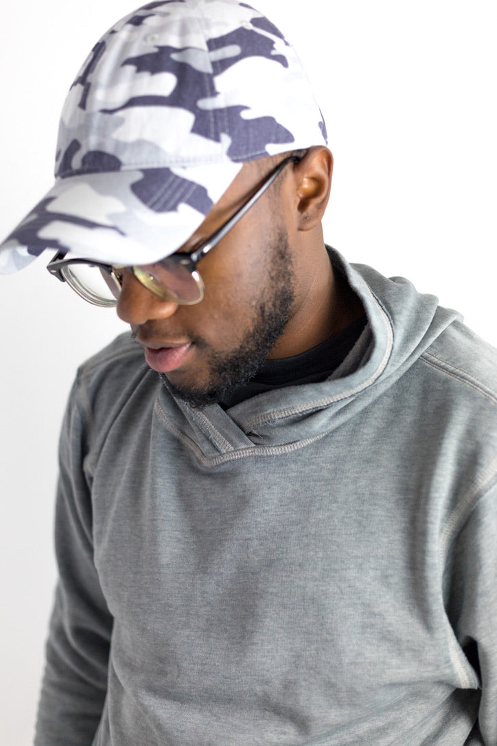 Lizard Gray Camo Garment Washed Baseball Cap Side View