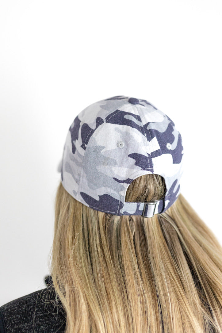 Lizard Gray Camo Garment Washed Baseball Cap Back View