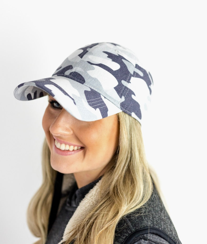 Lizard Gray Camo Garment Washed Baseball Cap