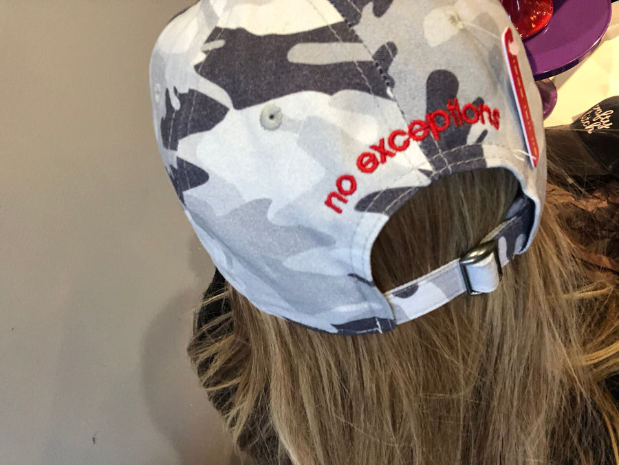 LOVE Everybody Gray Camo Cap no exceptions back view