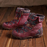 Women Vintage Ethnic Style Leather Booties-Booties-hundredfeel.com-RED-36-hundredfeel
