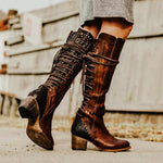 Women Vintage High Heel Lace-Up Plus Size Boots-Boots-hundredfeel.com-BROWN-34-hundredfeel