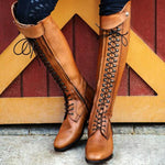 Women Casual Zipper Pointy Toe Lace-Up Boots-Boots-hundredfeel.com-BROWN-34-hundredfeel