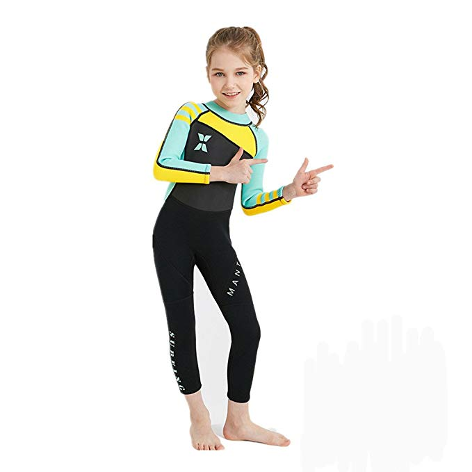 Kids Wetsuit UPF 50 Beachwear Swimming Diving Suit Surfing Suits-Wetsuits-hundredfeel-Green-S-hundredfeel