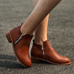 Womens New Leather Suede Booties-Booties-hundredfeel.com-BROWN-35-hundredfeel