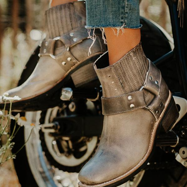Vintage Studs Buckle Ankle Motorcycle Booties-Booties-hundredfeel.com-GREY-36-hundredfeel