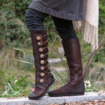 Metal Button Lace Up Low Heel Boots-Boots-hundredfeel.com-BROWN-34-hundredfeel