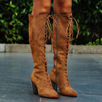 Women Vintage Pointy Toe Zipper Lace Up Boots-Boots-hundredfeel.com-BROWN-35-hundredfeel