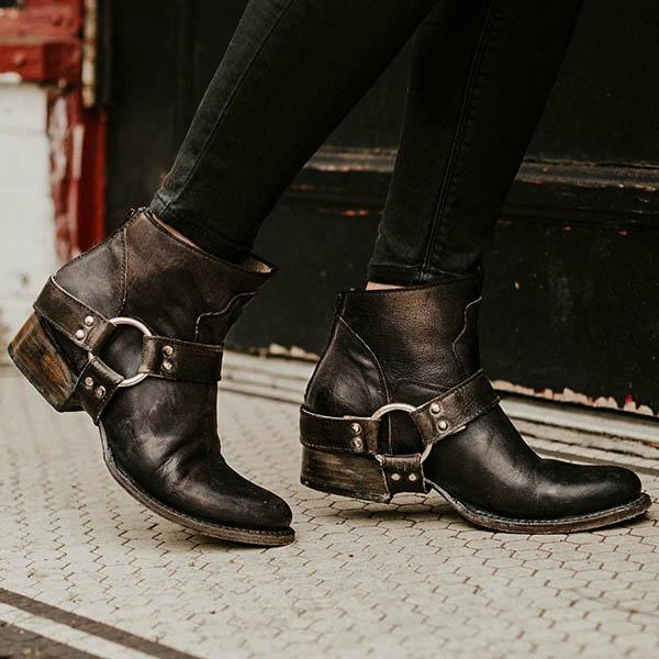 Women Buckle Motorcycle Booties-Booties-hundredfeel.com-BLACK-34-hundredfeel