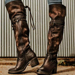 Women Vintage Side Zipper Lace Up Boots-Boots-hundredfeel.com-BROWN-36-hundredfeel