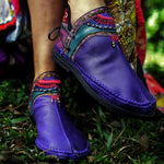 Women Handmade Comfortable Round Toe Jungle Boots-Booties-hundredfeel.com-BLUE-36-hundredfeel