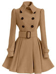 Fold Over Collar Ruffled Hem Belt Coat-Coat-hundredfeel.com-KHAKI-S-hundredfeel