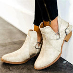 Women Buckle Low Heel Pointy Toe Booties-Booties-hundredfeel.com-WHITE-35-hundredfeel