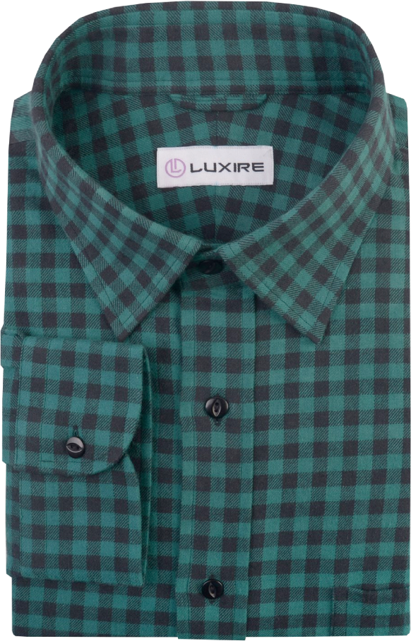 Green Black Gingham Twill  Flannel Work Shirt