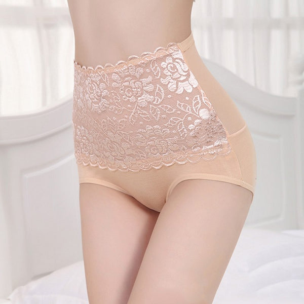 Women Modal High Waist Sexy Lace Belly in Carry Buttock Briefs Underwear Lace Floral Hip Abdomen Tummy Control Panties Plus Size