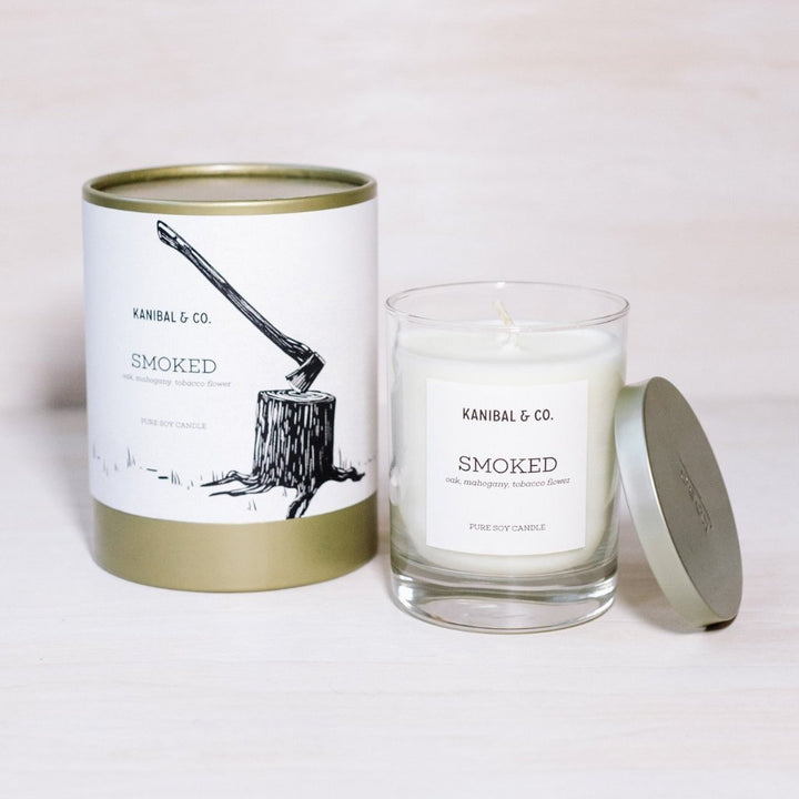Smoked scented candle, box and jar