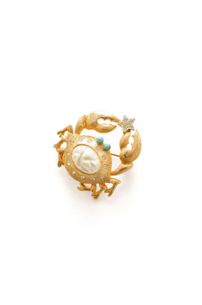 Pearl Gold Crab Brooch