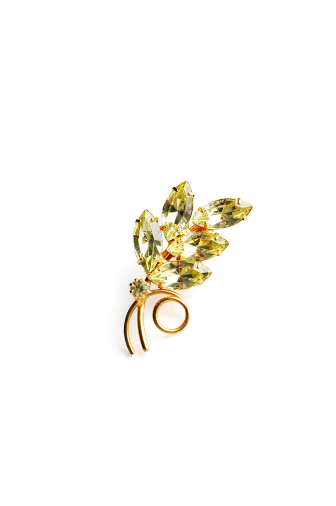 Yellow Rhinestone Brooch