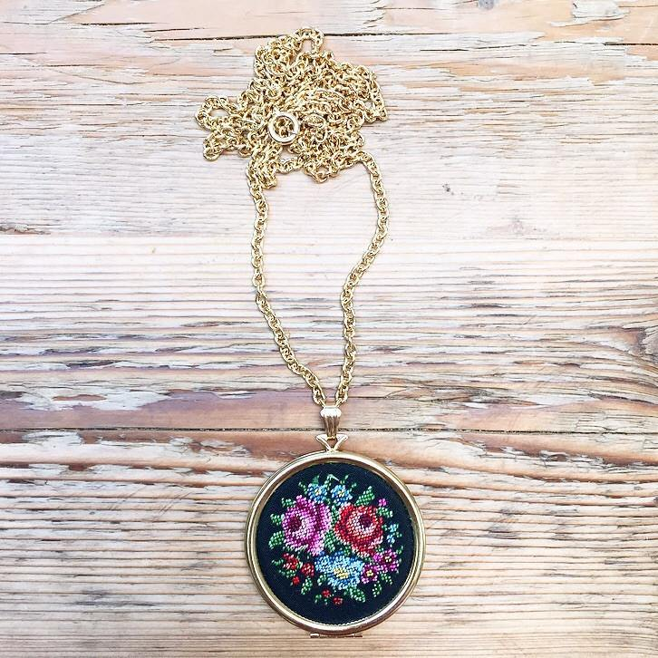 70's Embroidered Locket Necklace