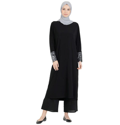 Abaci Modest Oversized Sequined Tunic 13089 Black