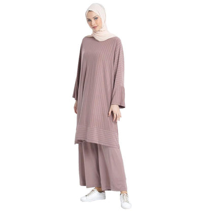 Abaci Modest Oversized Striped Tunic & Pant Set 13123