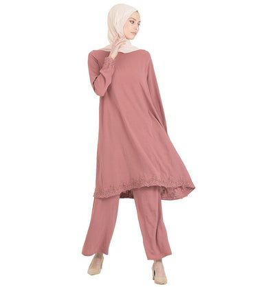 Abaci Solid Laced Tunic & Pant Set 13206 Rose Pink